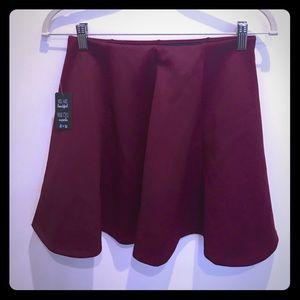 Brand New Burgundy Skater Skirt